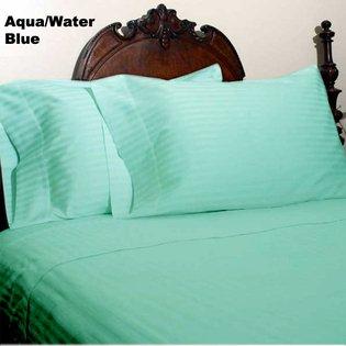 "1200TC Egyptian Cotton Extra Deep Pockets 28"" Aqua Stripe Set 4Pc Olympic Queen Size"