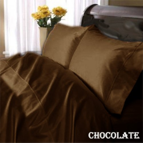 """1200TC Egyptian Cotton Extra Deep Pockets 28"""" Choclate Set 4Pc Olympic Queen Size"""
