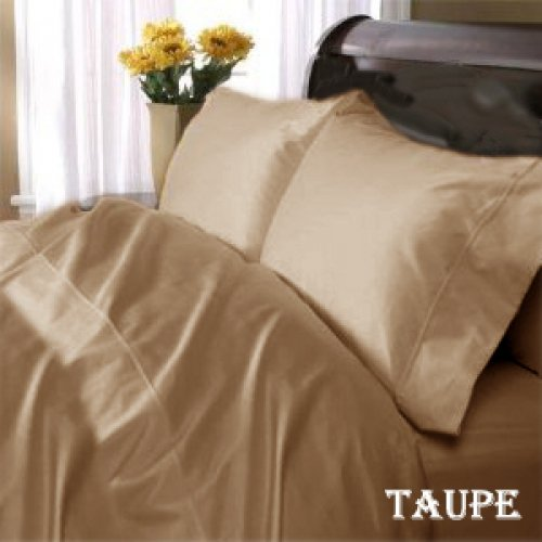 "1200TC Egyptian Cotton Extra Deep Pockets 28"" Mocha Set 4Pc Olympic Queen Size"