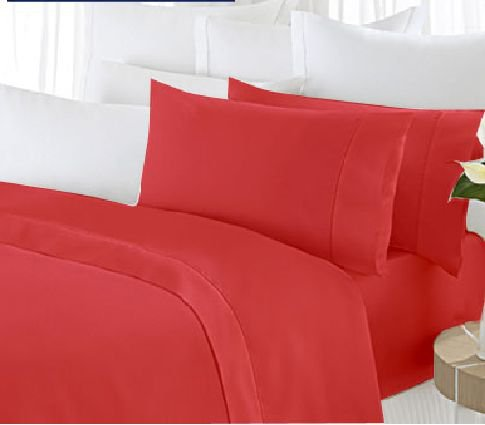 "1200TC Egyptian Cotton Extra Deep Pockets 28"" Red Set 4Pc Olympic Queen Size"
