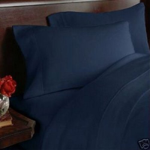 """1200TC Egyptian Cotton Extra Deep Pockets 28"""" Navy Set 4Pc Olympic Queen Size"""