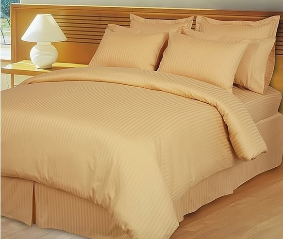 """1200TC Egyptian Cotton Extra Deep Pockets 28"""" Gold Stripe Set 4Pc Olympic Queen Size"""