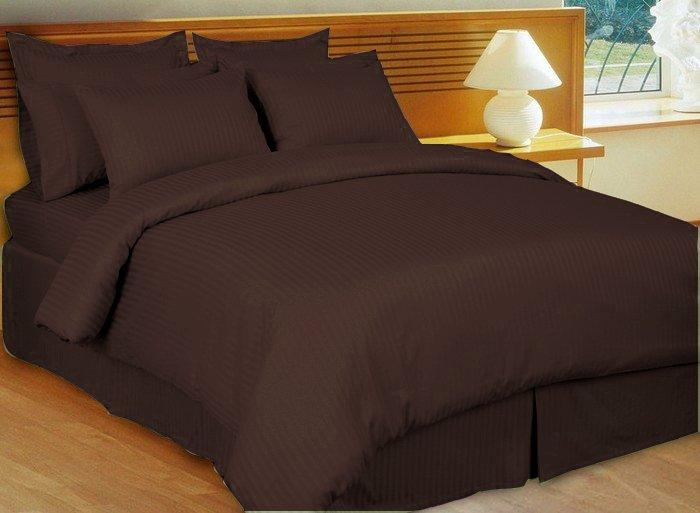 "1200TC Egyptian Cotton Extra Deep Pockets 28"" chocolate Stripe Set 4Pc Twin Size"
