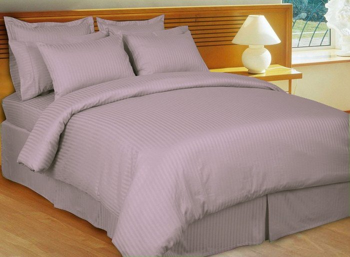 "1200TC Egyptian Cotton Extra Deep Pockets 28"" LILAC Stripe Set 4Pc Twin Size"