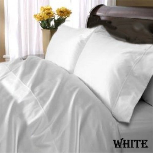 "1200TC Egyptian Cotton Extra Deep Pockets 28"" White Set 4Pc Twin Size"