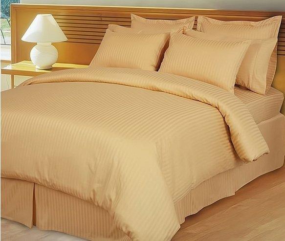 "1200TC Egyptian Cotton Extra Deep Pockets 28"" Gold  Stripe Sheet Set 4Pc TwinXL Size"