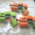 Set of 3 Nerf Soft Dart Guns 2 Orange & Green Hand Gun