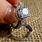 14k Sterling 925 Estate Diamond cut White Sapphire Engagement Ring Wedding Set 7
