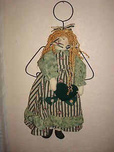 Handmade Country Chic Cloth Door Knob (wall hanging) Angel Doll w/ heart