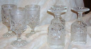 1960's Anchor Hocking Wexford Set of 6- Claret Wine Goblet Stemmed Glasses-