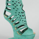 Privileged Banet Heel Less Cut Out Curved Wedge (Teal)