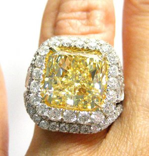 9.53 FANCY YELLOW RADIANT DIAMOND ENGAGEMENT WEDDING RING GIA CERTIFIED PLATINUM