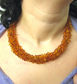 EVANUEVA YELLOW HONEY CITRINE MULTI STRAND NECKLACE ITALY AMBER TAGGLE