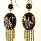 AUTHENTIC FRINGED VICTORIAN CABOCHON GARNET DIAMOND EARRINGS CIRCA 1870 RARE!
