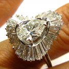 4.23CT VINTAGE PEAR DIAMOND BALLERINA ENGAGEMENT WEDDING RING EGL USA 14K W GOLD