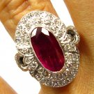 GIA 4.70CT ANTIQUE VINTAGE RED RUBY DIAMOND ENGAGEMENT WEDDING RIGHT HAND RING