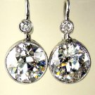 GIA 4.35CT ANTIQUE VINTAGE SOLITAIRE DIAMOND DROP EARRING HANGING ART DECO PLAT