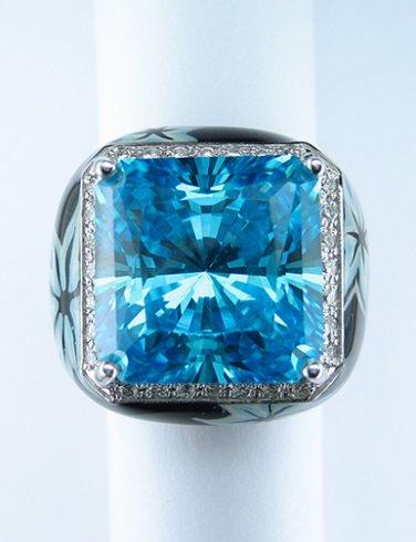BLUE TOPAZ QUARTZ 18K WHITE GOLD BLACK and BLUE DIAMOND RING ITALY HEAVY THICK!!