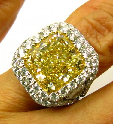 GIA 9.53CT ESTATE FANCY YELLOW RADIANT DIAMOND ENGAGEMENT WEDDING RING PLATINUM