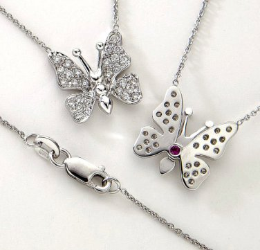 AUTHENTIC ROBERTO COIN DIAMOND BUTTERFLY PENDANT NECKLACE 18K WG TINY TREASURES