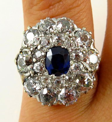 4.45C ANTIQUE VINTAGE VICTORIAN SAPPHIRE DIAMOND CLUSTER ENGAGEMENT WEDDING RING