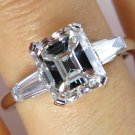 3.53CT ESTATE VINTAGE EMERALD CUT DIAMOND ENGAGEMENT WEDDING RING PLAT EGL USA