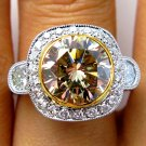 5.73CT ESTATE VINTAGE FANCY COGNAC ROUND DIAMOND ENGAGEMENT WEDDING RING EGL USA