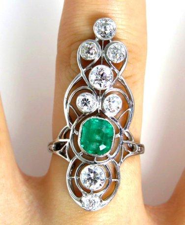 GIA 3.60CT ART NOUVEAU ANTIQUE VINTAGE GREEN EMERALD DIAMOND ENGAGEMENT RING PLA