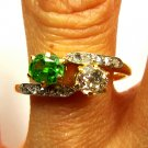 ANTIQUE VINTAGE VICTORIAN CROSSOVER DIAMOND DEMANTOID ENGAGEMENT WEDDING RING