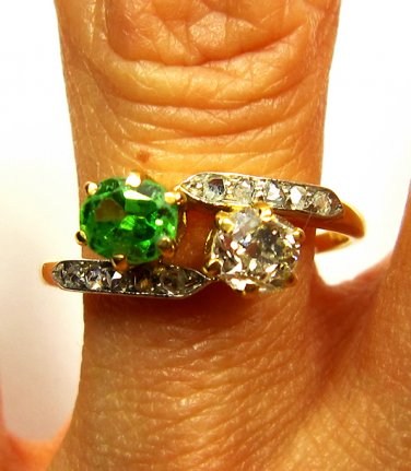 ANTIQUE VINTAGE VICTORIAN CROSSOVER DIAMOND DEMANTOID ENGAGEMENT WEDDING RING