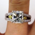 3.37CT VINTAGE ESTATE SQUARE RADIANT DIAMOND ENGAGEMENT WEDDING RING EGL USA WG