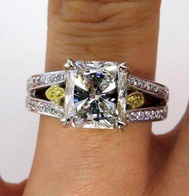 3.37CT VINTAGE ESTATE SQUARE RADIANT DIAMOND ENGAGEMENT WEDDING RING EGL USA WG