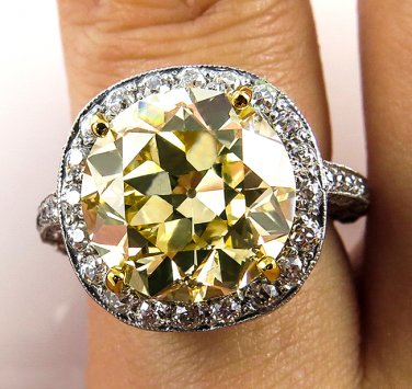 7.24CT VINTAGE ESTATE FANCY YELLOW DIAMOND ENGAGEMENT WEDDING RING EGL USA PLAT