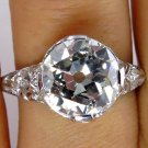 3.02CT ANTIQUE VINTAGE EDWARDIAN DIAMOND ENGAGEMENT WEDDING BAND RING PLATINUM