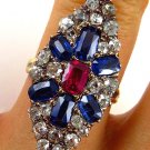 4.86C ANTIQUE VINTAGE VICTORIAN SAPPHIRE DIAMOND CLUSTER ENGAGEMENT WEDDING RING