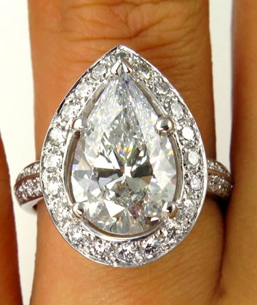 4.46CT VINTAGE ESTATE PEAR SHAPE DIAMOND ENGAGEMENT WEDDING RING EGL USA 14K WG