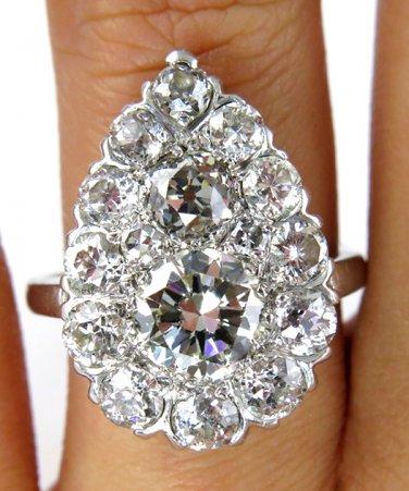 3.06CT ANTIQUE VINTAGE DIAMOND PEAR CLUSTER ENGAGEMENT WEDDING RING EGL USA PLAT