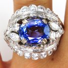 GIA 6.50CT ANTIQUE VINTAGE FRENCH ART DECO SAPPHIRE DIAMOND CLUSTER RING PLAT
