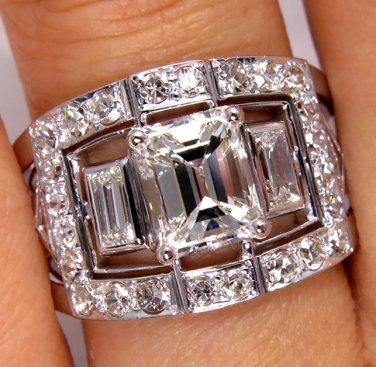 GIA 3.60CT ANTIQUE VINTAGE EMERALD CUT DIAMOND ANNIVERSARY WEDDING BAND RING PLA