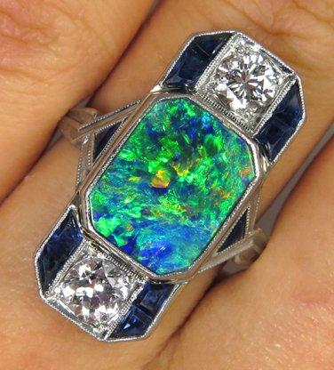 4CT ANTIQUE VINTAGE LARGE ART DECO BLACK AUSTRALIAN OPAL DIAMOND SAPPHIRE RING