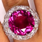 GIA 16.02CT ESTATE VINTAGE WIDE LARGE NATURAL PINK TOURMALINE DIAMOND RING PLAT