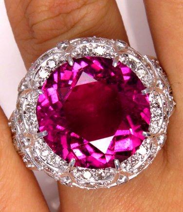 GIA 16.02CT ESTATE VINTAGE WIDE LARGE NATURAL PINK TOURMALINE DIAMOND RING PLAT