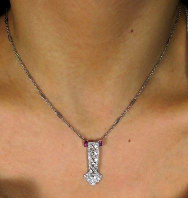 2.17CT ART DECO ANTIQUE VINTAGE DIAMOND RUBY CHAIN PENDANT NECKLACE PLATINUM/14K