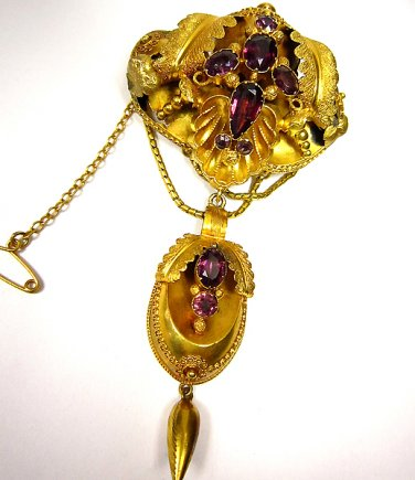 1870 VICTORIAN ANTIQUE GARNET NECKLACE PENDANT Convertable PIN BROOCH ORIGINAL!