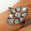 0.85CT ANTIQUE VINTAGE EDWARDIAN DIAMOND ENGAGEMENT CLUSTER RING PLATINUM