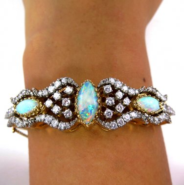 5.05CT ANTIQUE VINTAGE AUSTRALIAN OPAL DIAMOND BANGLE BRACELET CUFF SOLID 14K