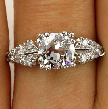 1.37CT DECO ANTIQUE VINTAGE OLD EURO DIAMOND ENGAGEMENT WEDDING RING EGL USA PLA