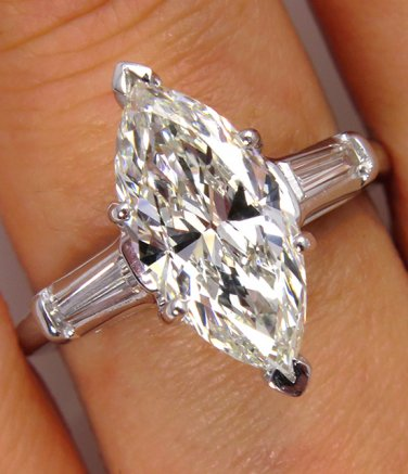 GIA 2.55CT ESTATE VINTAGE MARQUISE DIAMOND ENGAGEMENT WEDDING RING PLA BAGUETTES