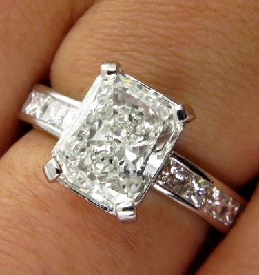 3.18CT VINTAGE ESTATE SQUARE RADIANT DIAMOND ENGAGEMENT WEDDING RING EGL USA PLA