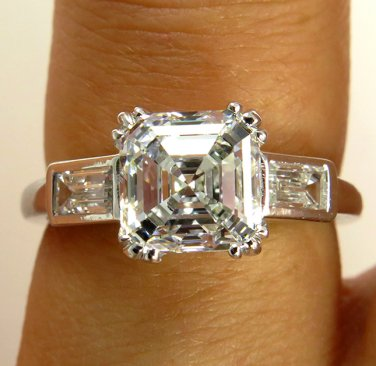 GIA 2.40CT ANTIQUE VINTAGE ART DECO ASSCHER DIAMOND ENGAGEMENT WEDDING RING PLAT